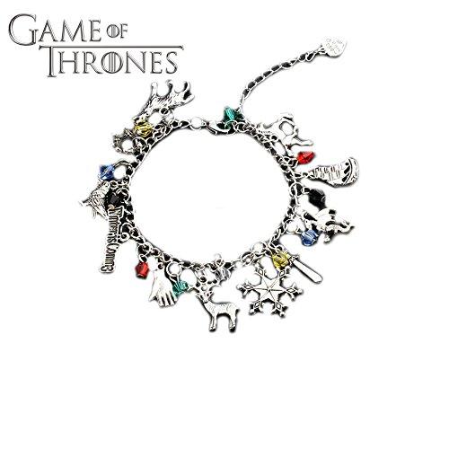 Athena Brand Game Of Thrones HBO TV Book Series Theme Stark Targaryen Lannister Martell Logo Charm Jewelry Bracelet w/Gift Box