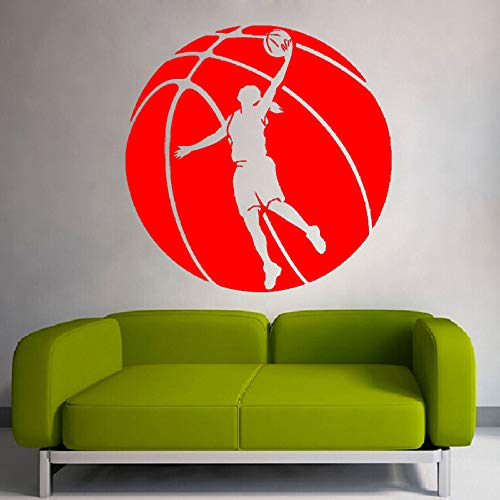Basketball Riesige Muster Mit Basketball Spieler Silhouette Kunst Wandaufkleber Home Sport Serie Decor Special Wall Murals rot 60x60cm -