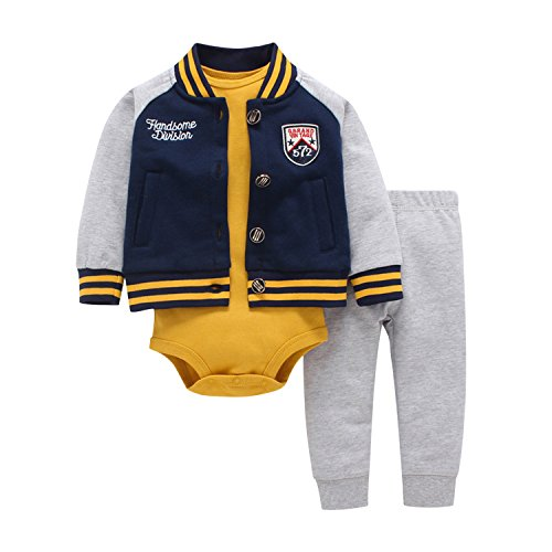 Newborn Baby Boys Coat Jacket + Romper + Long Pants 3pcs Clothing Set Outfit Blue 18-24 Months