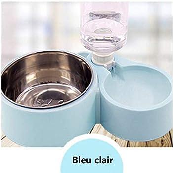 2 en 1 Distributeur Automatique Distributeur avec Gamelle et Bouteille Double Bol de Nourriture et d'eau Bouteille d'eau Automatique à Chien/Chat Mangeoire d'alimentation pour Animaux(Bleu Clair)