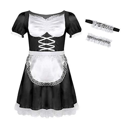 iixpin Dienstmädchen Männerkostüm Maid Kostüm Herren Zimmermädchen Herrenkostüm Hausmädchen Drag Queen Travestie Lolita Männer Cosplay Kostüm Schwarz ()