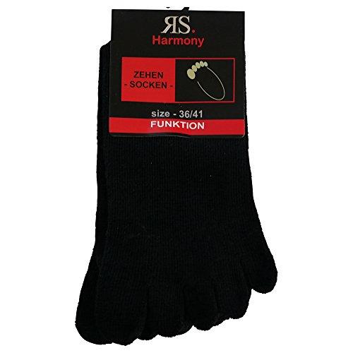7 Paar Zehensocken mit echter Ferse Schwarz hoher Baumwollanteil ohne Naht, handgekettelt mit Komfortbund (36-41, Schwarz uni) -