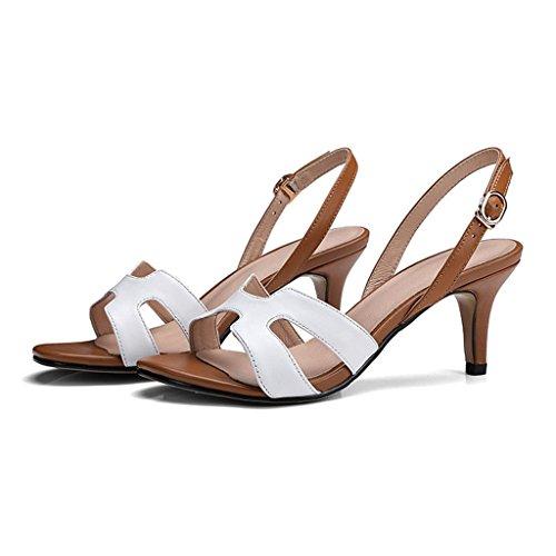 W&LM Mit hohen Absätzen Sandalen fein mit Zeh Damenschuhe echtes Leder Schuh White