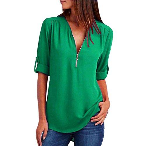 eile Mode Frauen Casual V-Ausschnitt Zipper Tops T-Shirt Lose Langarm Bluse Frühling Sommer Herbst Tops(Green,XL) (Batman Voller Kostüme)