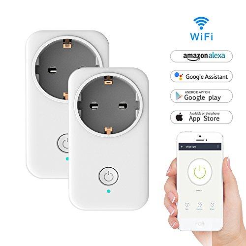WiFi Smart Steckdose, LADUO WLAN Smart Socket Outlet funktioniert mit Amazon Alexa und Google Home, Timing-Funktion, Fernbedienung Ihre Ger?te überall, kein Hub erforderlich (Steckdose-2PCS) (Heim-telefon-mit Wifi)