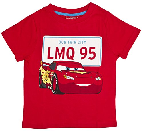 Image of Boys Disney Cars Lightning McQueen T Shirt Red Size 4 Years
