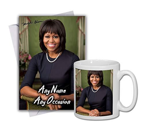 Michelle Obama 1 Personalised Card and Mug (Christmas, Birthday, Xmas)
