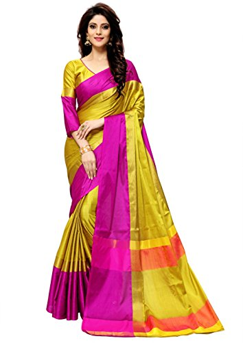 Indian Beauty Women's Cotton Art Silk Saree With Blouse(AANGI-N-GOLD_Gold_Free Size)
