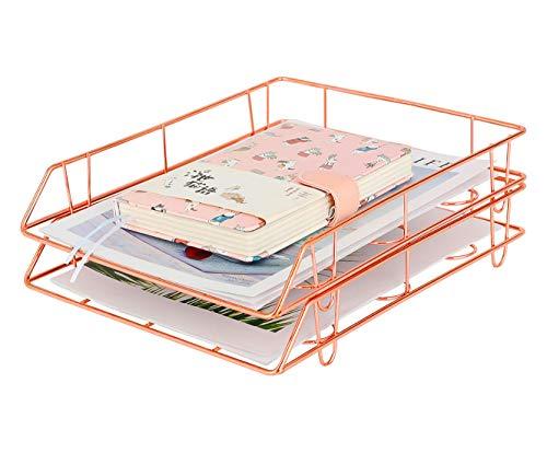 PAG Metall stapelbar Datei Dokument Briefablage Office Supplies Schreibtisch Organizer, Set von 2 Rose gold.