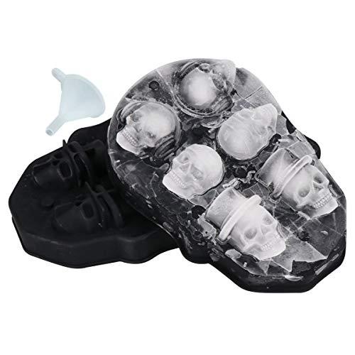 3D Schädel Eiswürfelform, Flexible Food Grade Silikon Eiswürfelform Tablett mit Deckel und Trichter, 6 Niedlich und Vivid Skull für DIY Praline Jello Kuchen