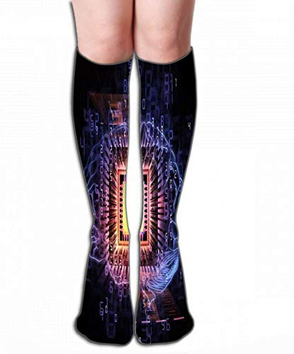 Eybfrre Outdoor Sports High Socks Stocking brain processor Character Tile length