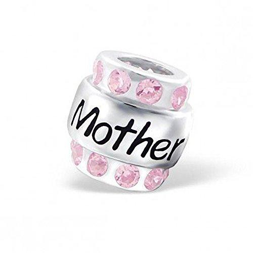Rosa, con zirconia cubica, in argento sterling, a forma di barile ciondolo originale pandora per braccialetti con perline