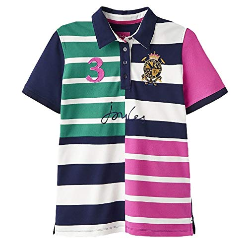 Joules Womens Vittoria Quartered Stripe Contrast Polo Shirt - Authentic Polo-shirts