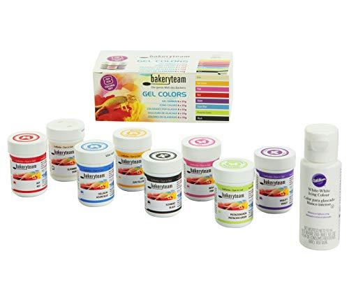 bakeryteam Lebensmittelfarben Gel Set 8 Farben + Wilton weiß (8 x 35g + 59ml) - Whitener Gel