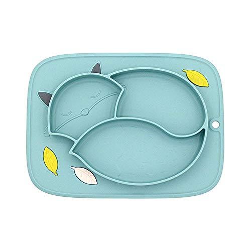 Hamkaw Baby Platzset rutschfest Silikon Kleinkind Fütterteller mit Saugnapf für Kleinkinder, Spülmaschine und Mikrowelle (Pink) grün