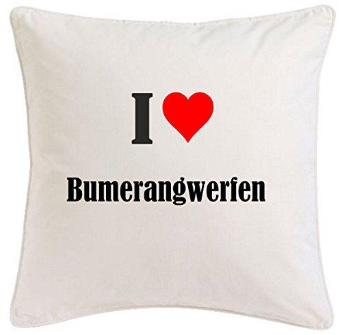 """Kissenbezug """"I Love Bumerangwerfen"""" 40cmx40cm aus Mikrofaser ... ideales Geschenk und geschmackvolle Dekoration für jedes Wohnzimmer oder Schlafzimmer in Weiß mit Reißverschluss"""