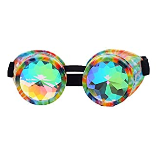 AFUT New Sell Kaleidoscope Goggles - Cyber Real Crystal Prism Steampunk Rainbow Lenses for Halloween Goggles Shows