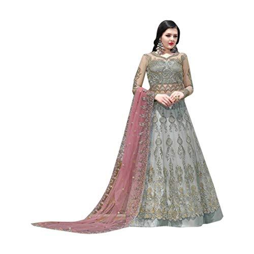 Baby Blue Indische muslimische Braut pakistanische Bollywood Anarkali Salwar Kameez bereit, Designer Boden Touch Net schwere Stickerei 7942 zu tragen Super Net Saree