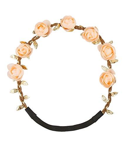 SIX Festival Haarschmuck: Rosenkranz mit geflochtenem Kunstlederband und goldenen Blätter-Ranken, ideal zum Dirndl oder Hochzeit, nude (456-439)