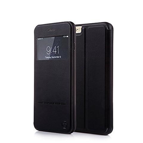 Nouske Étui avec fenêtre de visualisation Smart Sensor Touch pour Apple iPhone 6 6S 4.7 pouces, Noir