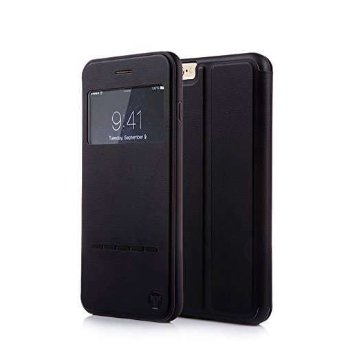 Nouske iPhone 6 / 6S 4.7 Zoll hülle Etui Smart Touch S View Window Leder Wallet Klapphülle Flip Book Case TPU Cover Bumper Ultra Slim Rundumschutz, Schwarz