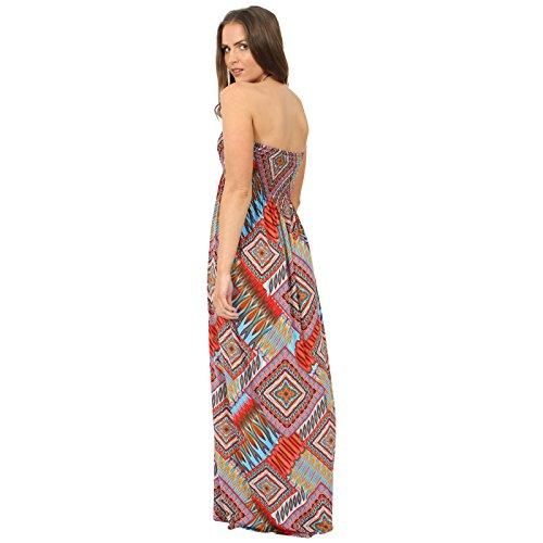 Vestito da donna lungo dritto senza spalline, vestito stampato estivo, taglia S/M M/L Box-Print
