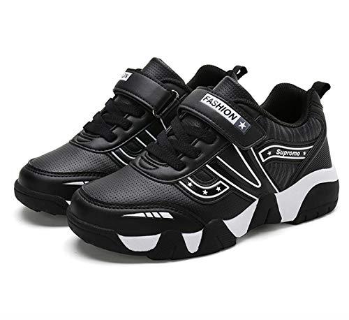 Goalsse Sneakers Bambini Ragazzi Scarpe da Corsa Ragazzi Scarpe Sportive Scarpe Casual Sneakers Basse con Velcro Antiscivolo da Corsa Sneakers (35 EU, Nero)