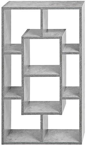 ts-ideen Libreria Scaffale 85x48 cm Grigio Cemento con 8 vani