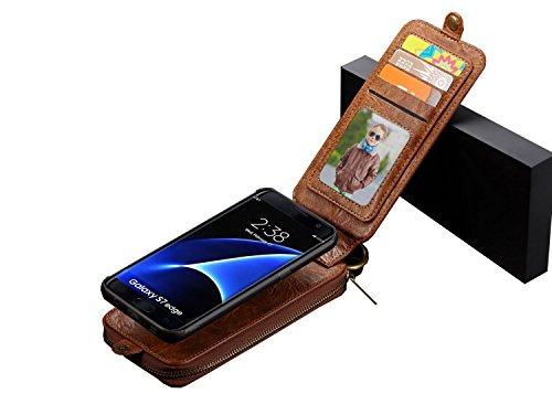 Caseme Kcfir TPU + PC in vera pelle con chiusura magnetica custodia a portafoglio in pelle per Sumsung S7EDGE con pratica sport clip cerniera vano, carte, foto e contanti carta Brown