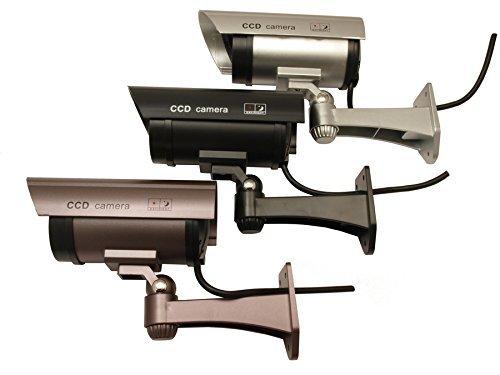 CE IR1100B Dummy LED Überwachungskamera Attrappe Alarmanlage, Wasserdicht schwarz