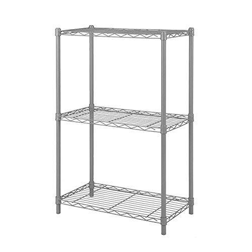 4 Ocean Regal Metall Küchenregal Stabil Robustes Schrank für Küche Büro Garage Speisekammer (Grau, 3 Regalböden) (Küche-schrank Metall-regal)