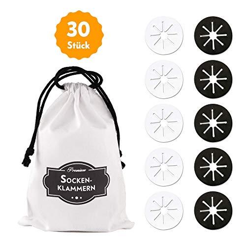 Premium Sockenklammern für Waschmaschine und Trockner - 30er Set | inkl. hochwertiger Baumwolltasche