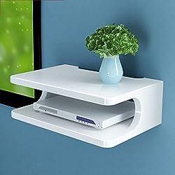 Étagère flottante meuble de télévision meuble étagère console de télévision étagère de routeur boîtier de décodeur DVD rack de stockage de téléphone, multicolore en option (Couleur : Blanc)