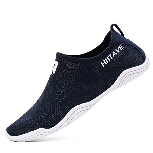 hiitave Men Women's Quick Dry Barefoot Water Shoes Slip On Beach Sport Aqua Socks Navy 8 B(M)