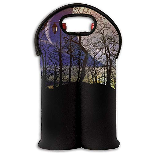 Full Moon Forest Night Darkness Moonlight Sky Light On Branches 2 Bottle Wine Carrier Wine Tote Carrier Bag/Purse for Champagne, Wine, Water Bottles,Wine Bottle Carrier.