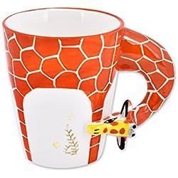 Taza de café pura pintada a mano de la jirafa 3D Taza de cerámica Regalo de la Navidad
