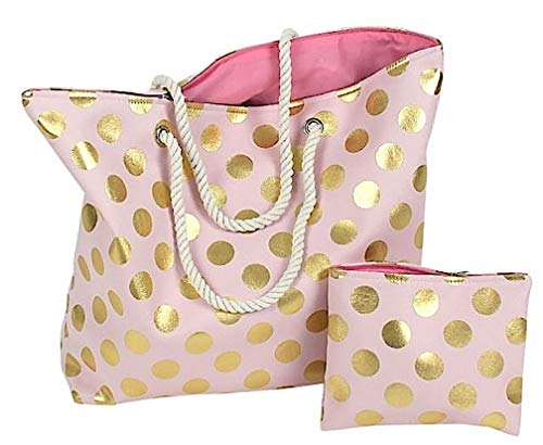 LS-Design XL Strandtasche Kulturtasche Rosa Gold Set 2-teilig Badetasche Shopper (Rosa Und Gold Handtasche)