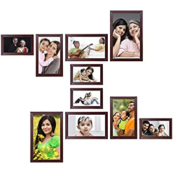 Amazon Brand - Solimo Collage Photo Frames, Set of 10,Wall Hanging (4 pcs - 4x6 inch, 4 pcs - 5x7 inch, 2 pcs - 6x10 inch),Rosewood Color