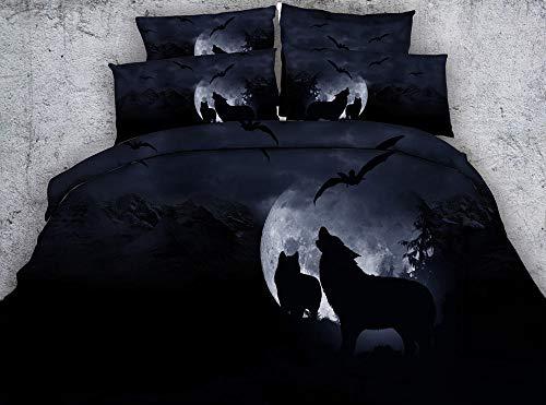 ZMK-720 Juego De Sábanas De 4 O 6 Piezas De Cama De Lobo Aullando Sábanas  De Cama De Cielo Nocturno Negro con Fundas Nórdicas De Murciélago Luna Y