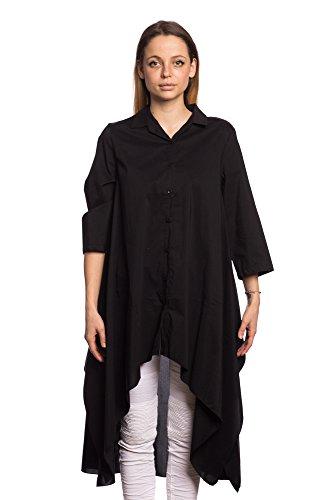 Abbino 4413 Blusen Shirts Tops Damen - Made in Italy - 2 Farben - Übergang Frühling Sommer Herbst T-shirts Unifarbe Lässig Langarm Baumwolle Süße Sexy Sale Equemer Freizeit Elegant Schwarz