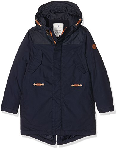 TOM TAILOR Kids urban fabric mix parka, Giacca Bambino, Blu (knitted navy), 128