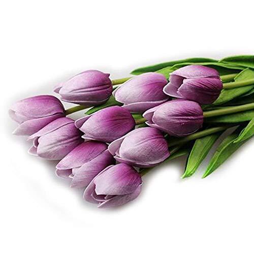 huyipin 10pcs Kunstblumen Künstliche Tulpe Seidenblumen Bouquet Artificial Tulip Silk Flowers Braut Hochzeit Startseite Blumendekor (Lila) - Flower Lila Silk Bouquet