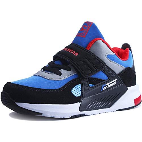 HOBlBEAR Sneaker Kinder Schuhe Jungen Sportschuhe Kinderschuhe Outdoor Basketball Schuhe Sportart Turnschuhe Hallenschuhe Sport Schuhe Laufschuhe für Unisex-Kinder Blau 37