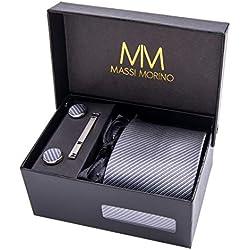 Massi Morino Hombre Designer Corbata – Caja Conjunto con pañuelo, Gemelos y Aguja de Corbata, Ropa y Accesorios de Hombre (Gris Rayas)