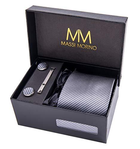 Massi Morino ® Herren Krawatte Set mit umfangreicher Geschenkbox grau graue gestreift striped graufarben hellgrau grauekrawatte gestreiftekrawatte steingrau Streifen Streifenmuster Streifenmotiv - Streifen Krawatte