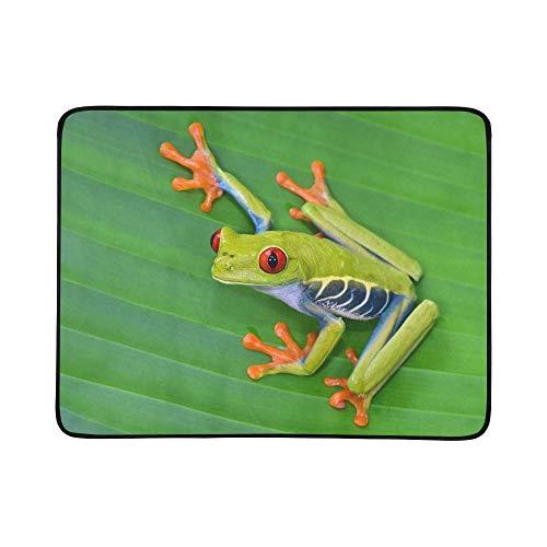SHAOKAO Red Eyed Tree Frog Gaudy Leaf Tragbare und Faltbare Deckenmatte 60x78 Zoll Handliche Matte für Camping Picknick Strand Indoor Outdoor Reise -