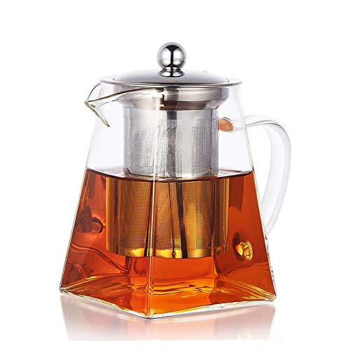 PluieSoleil Teekanne 750 ml Glas Teebereiter mit Edelstahl-Sieb Glaskanne Aufheizen auf dem Herd -