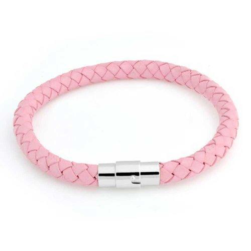 Bling Jewelry Mode Gewebe Gewebe Gewebt Boho Pink Faux Leder Geflochten Armreif Für Herren Für Damen Silber Ton Edelstahl Verschluss -