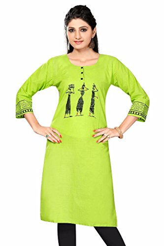 Indian Designer Bollywood Collection Branded Women's Cotton Kurta (P01 _Green _Free Size) By Shree Impex  available at amazon for Rs.399