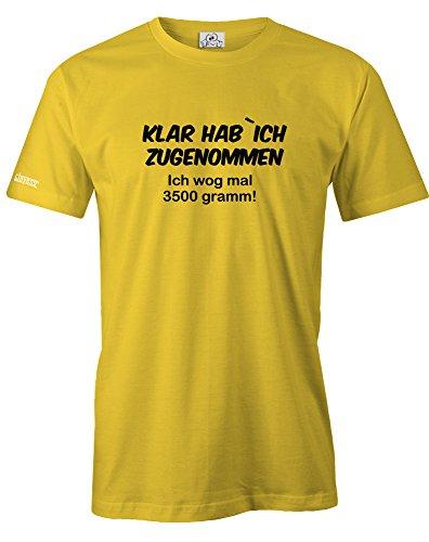 Jayess KLAR HAB ICH ZUGENOMMEN ICH WOG MAL 3500 GRAMM - HERREN - T-SHIRT in Gelb by Gr. XL - Dick Lustig T-shirt